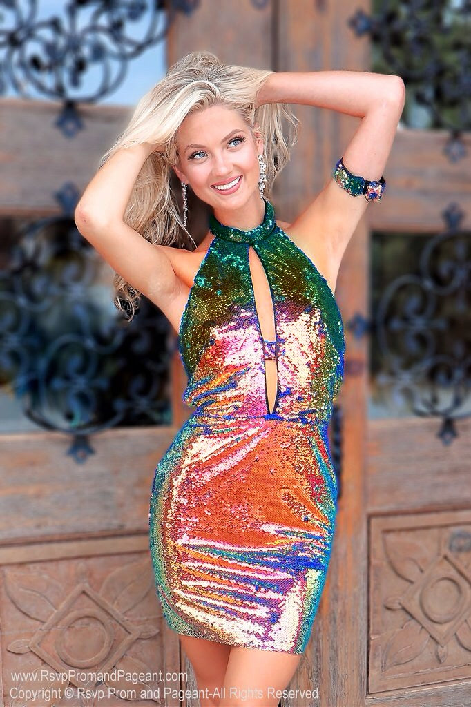 Disco is Forever in this Iridescent Short Dress