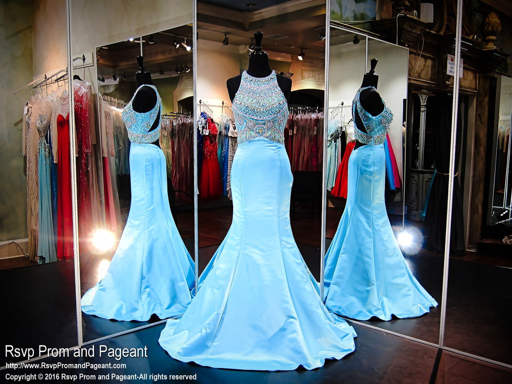 Aqua Multi Colored Beaded Mermaid Prom Dress - Rsvp Prom and Pageant, Atlanta, GA