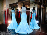 Aqua Multi Colored Beaded Mermaid Prom Dress - Rsvp SK - Long Gown - Rsvp Prom and Pageant - 1