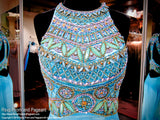 Aqua Multi Colored Beaded Mermaid Prom Dress - Rsvp SK - Long Gown - Rsvp Prom and Pageant - 2
