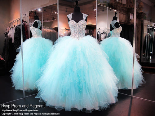 Aqua/Nude Sweetheart Ball Gown Dress - Rsvp Prom and Pageant, Atlanta, GA