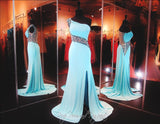 Aqua Beaded One Shoulder Jersey Prom Dress-Illusion Back and Waistline-High Slit - Rsvp BP - Long Gown - Rsvp Prom and Pageant - 1