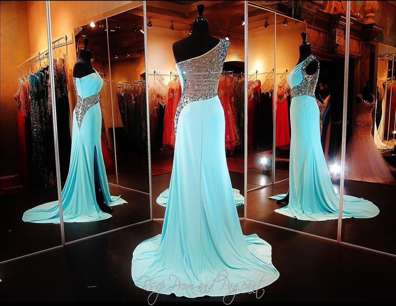 Aqua Beaded One Shoulder Jersey Dress / Rsvp Prom and Pageant, Atlanta, GA / Best Prom Store in Atlanta / #Promheaven