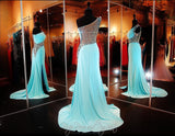 Aqua Beaded One Shoulder Jersey Prom Dress-Illusion Back and Waistline-High Slit - Rsvp BP - Long Gown - Rsvp Prom and Pageant - 3