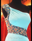 Aqua Beaded One Shoulder Jersey Prom Dress-Illusion Back and Waistline-High Slit - Rsvp Prom and Pageant, Atlanta, GA