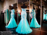 Turquoise/Nude Sweet Heart Neckline Mermaid - Rsvp XCT - Long Gown - Rsvp Prom and Pageant - 3
