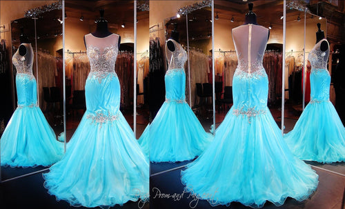 Aqua/Nude Mermaid-Illusion Bodice-High Neckline-Illusion Open Back-Train - Rsvp XCT - Long Gown - Rsvp Prom and Pageant Atlanta, Georgia GA - 2