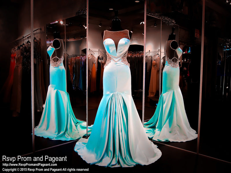Aqua Soft Satin Mermaid Prom Pageant Dress-High Sweetheart Neckline-Illusion Open Back - Rsvp Prom and Pageant, Atlanta, GA
