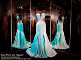 Aqua Soft Satin Mermaid Prom Pageant Dress-High Sweetheart Neckline-Illusion Open Back - Rsvp RA - Long Gown - Rsvp Prom and Pageant - 2