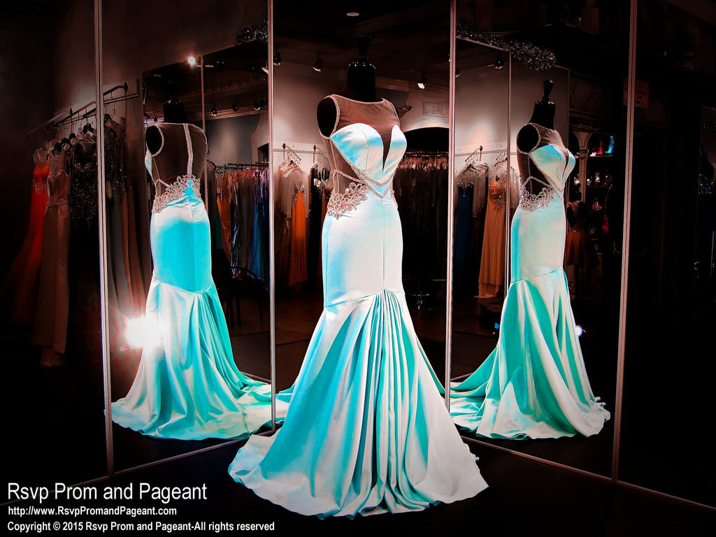 Aqua Soft Satin Mermaid Prom Pageant Dress-115RA080220 / Rsvp Prom ...