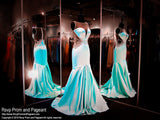 Aqua Soft Satin Mermaid Prom Pageant Dress-High Sweetheart Neckline-Illusion Open Back - Rsvp RA - Long Gown - Rsvp Prom and Pageant - 1