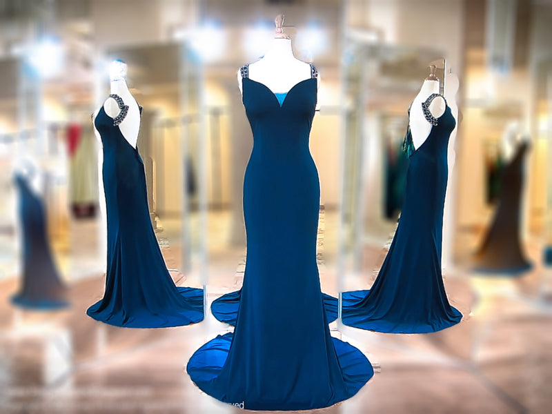 Blue V-Neck Fitted Low Back Long Dress / Rsvp Prom and Pageant, Atlanta, GA / Best Prom Store in Atlanta / #Promheaven