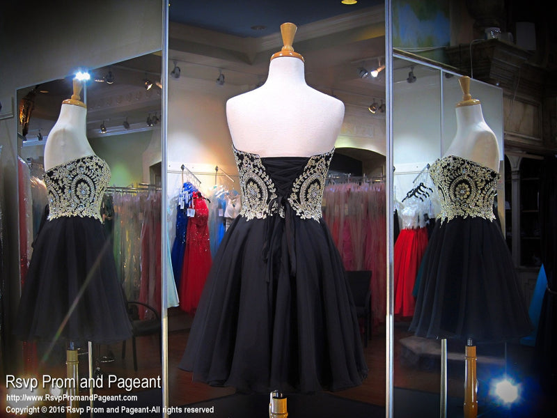 Black Sweetheart With Gold Embellishment And Corset Short Dress - Rsvp Prom and Pageant, Atlanta, GA