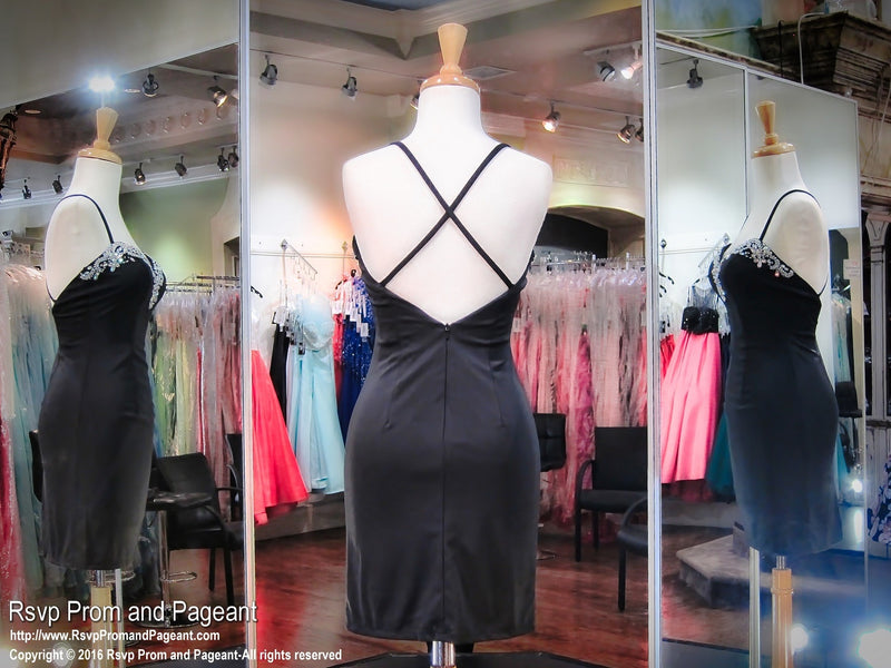 Black Open Back Short Homecoming Dress - Rsvp Prom and Pageant, Atlanta, GA