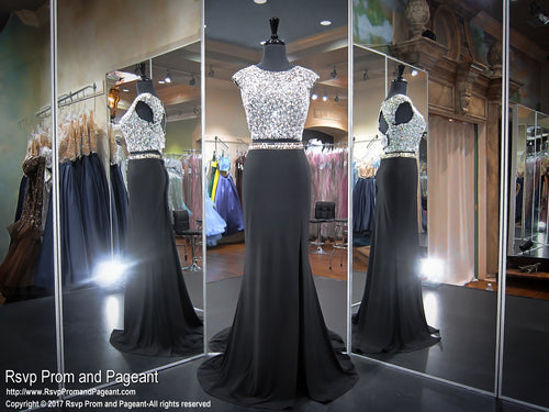 Black Beaded Two Piece Jersey Prom Dress 117EC0171660 / Rsvp Prom and Pageant / Best Prom Store / #Promheaven