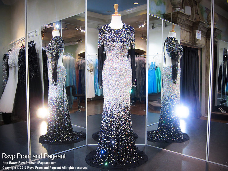 Black Blinged Out Cut Outs Prom Dress Iridescent Stones Sleeves Open Back - Rsvp JC - Long Gown - Rsvp Prom and Pageant Atlanta, Georgia GA - 1