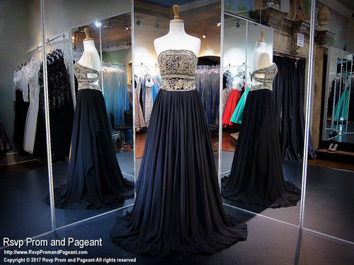 Black Strapless Open Back Prom Dress / Rsvp Prom and Pageant, Atlanta, GA / Best Prom Store in Atlanta / #Promheaven