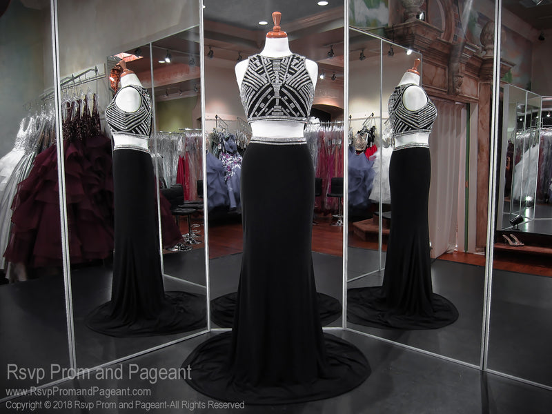 Black High Neckline Two Piece Prom Dress 118CLAR034380 / Rsvp Prom and Pageant / Best Prom Store in Atlanta / #Promheaven