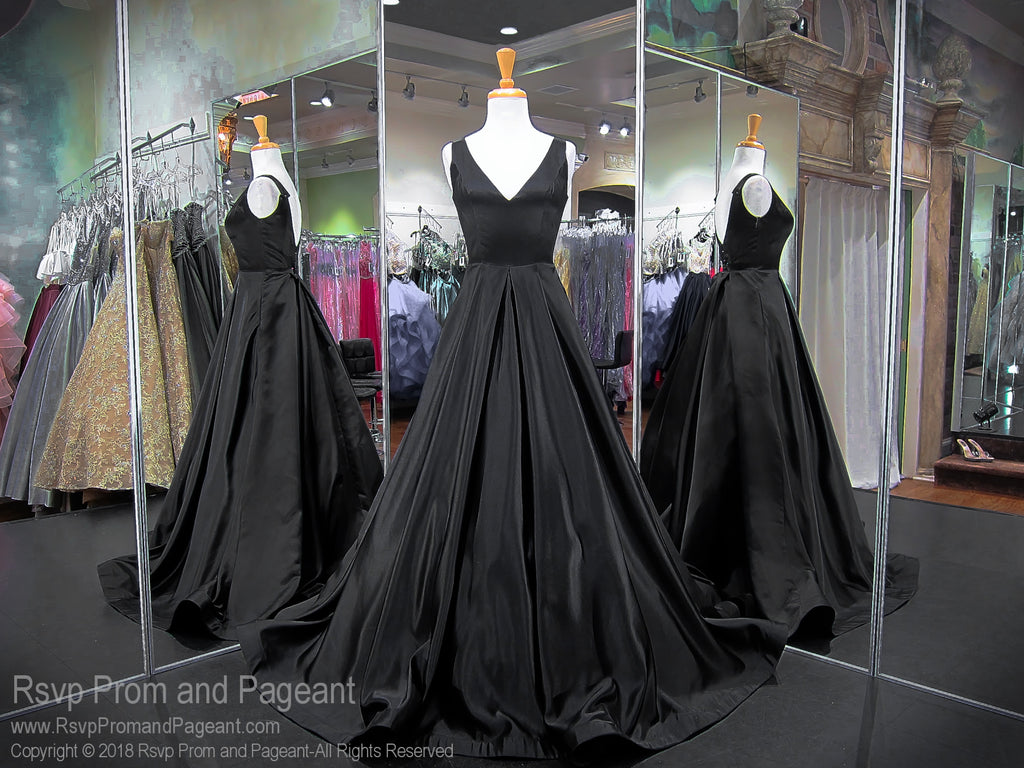 Black Satin Ball Gown Dress / Rsvp Prom and Pageant