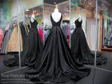 Black Satin V-Neck Open Back Ball Gown Prom Dress 118JC062320 / Rsvp Prom and Pageant / Best Prom Dresses in Atlanta / #Promheaven