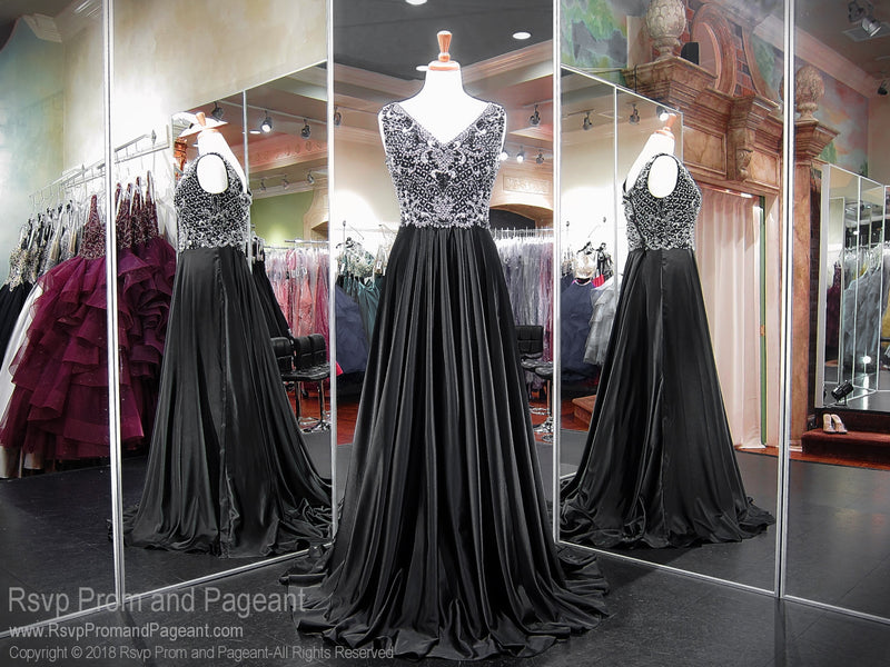 Black PLUS V-Neck Open Back Ball Gown Prom Dress 118RA063290 / Rsvp Prom and Pageant / Best Prom Dresses Atlanta