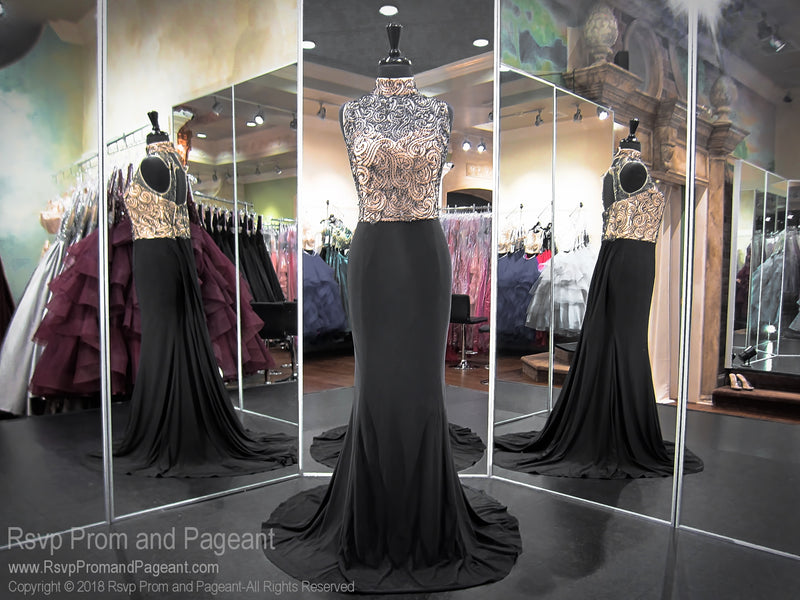 Black PLUS High Neckline Open Back Form Fitting Prom Dress 118RA063300 / Rsvp Prom and Pageant / Best Prom Dresses Atlanta