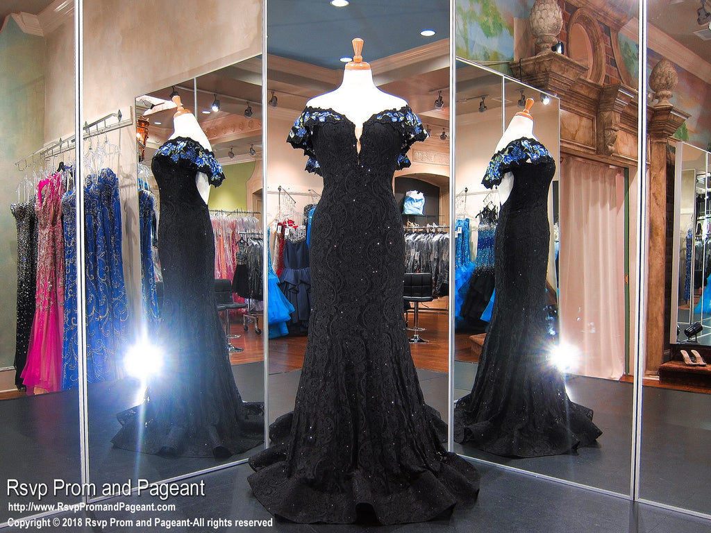 Black Lace Floral Off The Shoulder Prom Dress 118EW01181320 / Rsvp Prom and Pageant / Best Prom Store / #PromHeaven