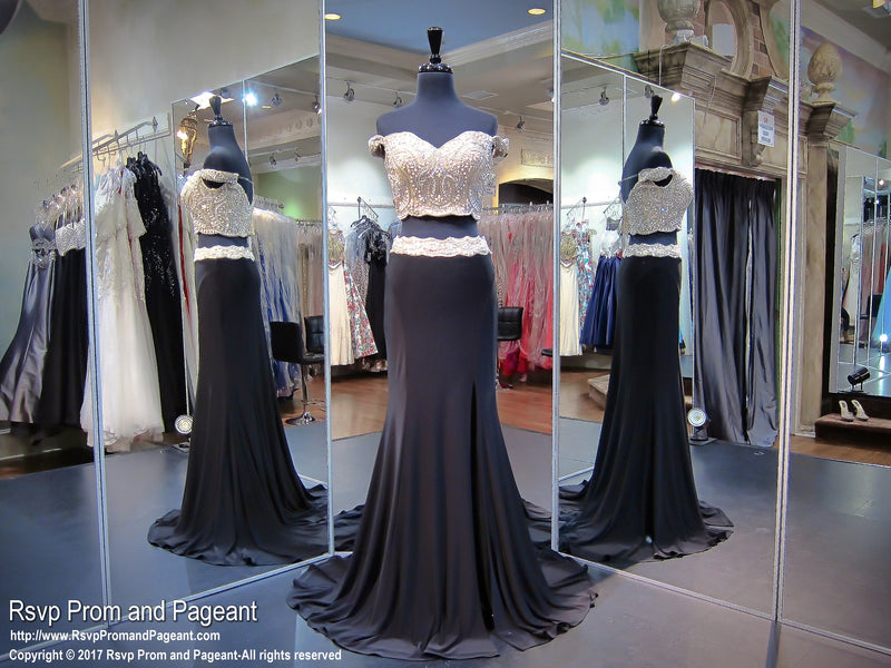Black/Champagne Two Piece Cap Sleeves Prom Dress - Rsvp TF - Long Gown - Rsvp Prom and Pageant Atlanta, Georgia GA - BEST PROM STORE