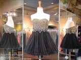 Black Strapless Sweetheart Gold Beaded Homecoming Dress - Rsvp JV - Short Dress - Rsvp Prom and Pageant - 1