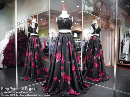 Black/Floral High Neckline Open Back Two Piece Ball Gown Prom Dress 118EC0181320 / Rsvp Prom and Pageant / Best Prom Store in Atlanta / #Promheaven