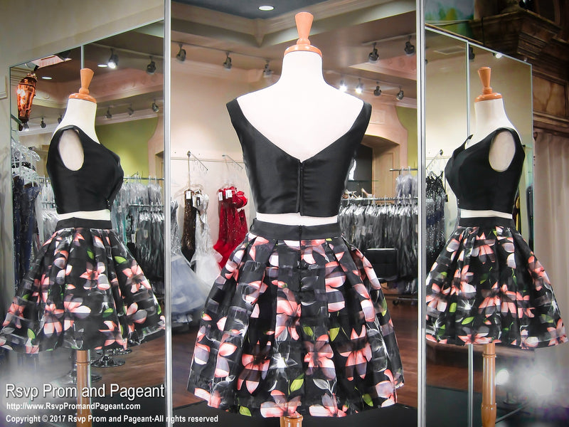 Black and Multi Colored Print Off The Shoulder Two Piece Pockets Short Homecoming Dress 117JOL0175420 / Best Prom Store / #PromHeaven