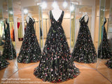 Black/Multi Floral V-Neck Ballgown 118CLAR035650 / Rsvp Prom and Pageant / Best Prom Dresses / Promheaven