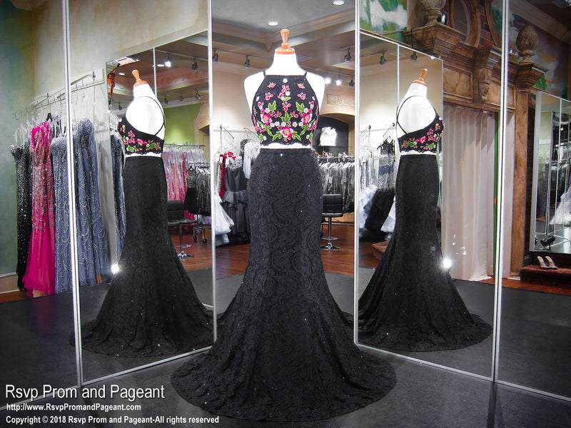 Black/Floral Lace Two Piece Mermaid Prom Dress 118EW01180760 / Rsvp Prom and Pageant / Best Prom Store / #PromHeaven