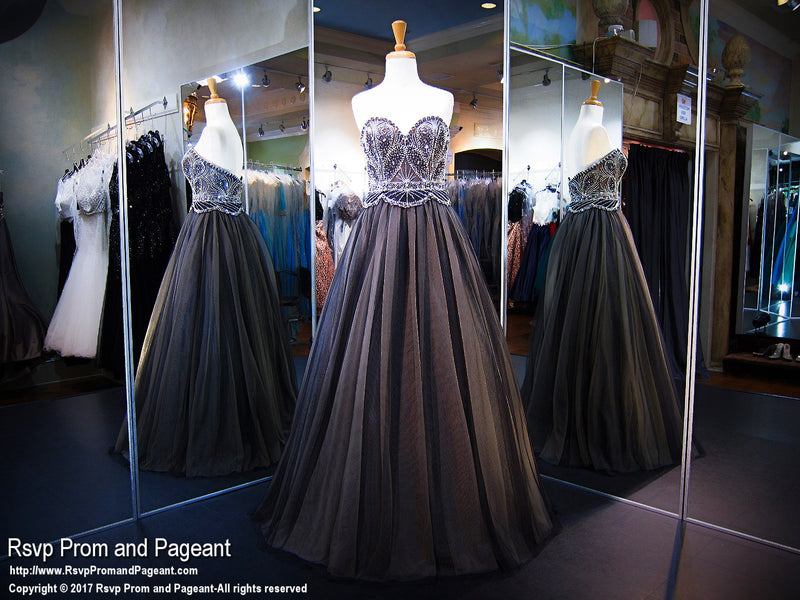 Black/Nude Sweetheart Strapless Ball Gown - Rsvp EC - Long Gown - Rsvp Prom and Pageant Atlanta, Georgia GA - 1