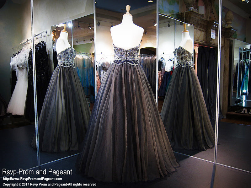 Black/Nude Sweetheart Strapless Ball Gown - Rsvp EC - Long Gown - Rsvp Prom and Pageant Atlanta, Georgia GA - 3