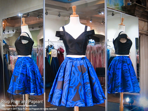 Black and Royal Floral Print Off The Shoulder Two Piece Pockets Short Homecoming / Rsvp Prom and Pageant / Best Prom Store