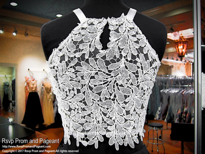 Black And White Lace Two Piece Short Homecoming Dress 117DJ059850 / Rsvp Prom and Pageant / Best Prom Store / #PromHeaven
