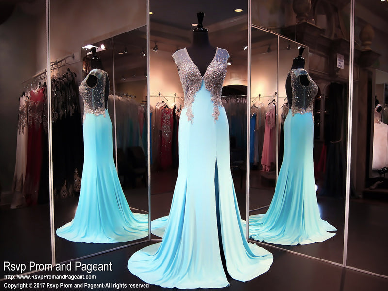 Blue V Neck Jersey Prom Dress - Rsvp JC - Long Gown - Rsvp Prom and Pageant Atlanta, Georgia GA - 1