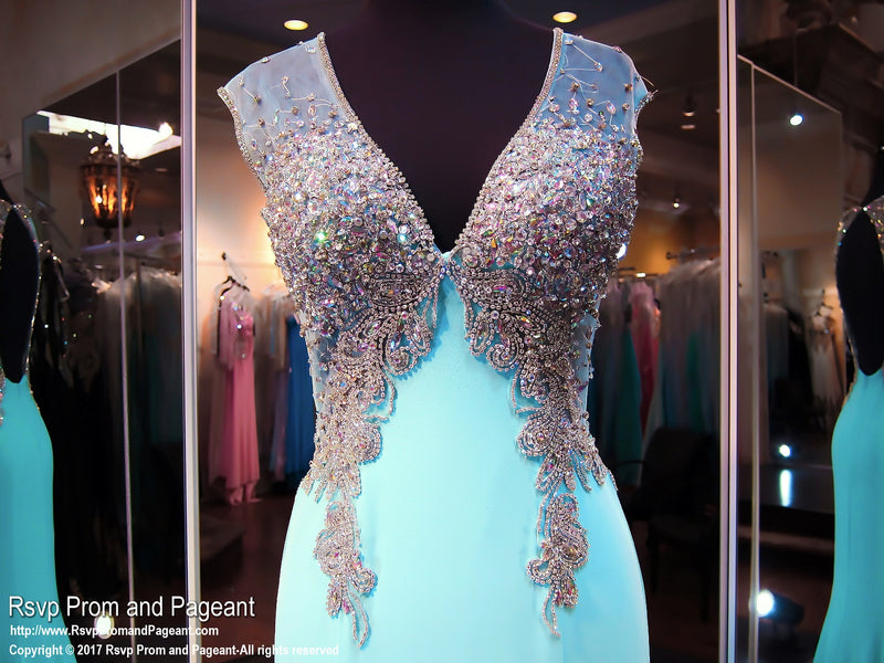 Blue V Neck Jersey Prom Dress - Rsvp JC - Long Gown - Rsvp Prom and Pageant Atlanta, Georgia GA - 2
