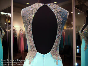 Blue V Neck Jersey Prom Dress - Rsvp JC - Long Gown - Rsvp Prom and Pageant Atlanta, Georgia GA - 4