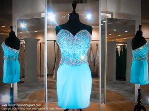Blue Peplum Skirt Short Homecoming Dress / Rsvp Prom and Pageant / Altanta / Best homecoming dresses / promheaven