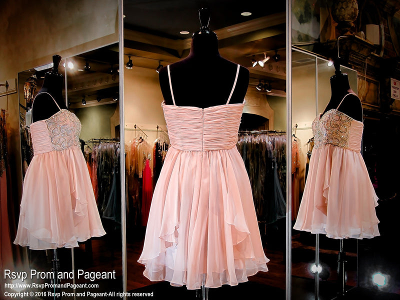 Blush Sweetheart Thin Strapped Chiffon Homecoming Dress - Rsvp Prom and Pageant, Atlanta, GA