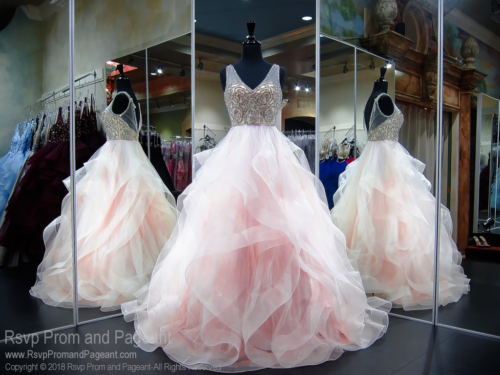 Blush V Neck Ball Gown Prom Dress Rsvp Prom And Pageant