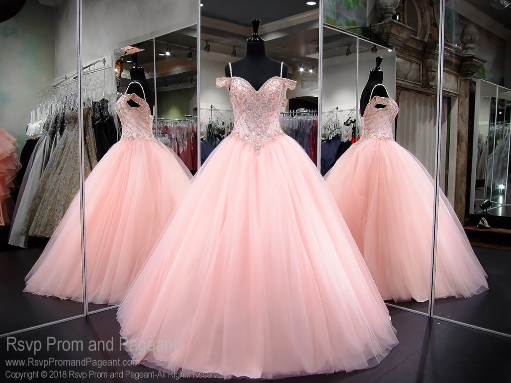 Blush Ball Gown Wedding Dress: Pink Lace Up Ball Gown Prom Dress