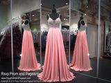 Blush V Neck Open Back With Slit Prom Dress 118EC0181600 / Rsvp Prom and Pageant / Best Prom Store in Atlanta, GA / #Promheaven