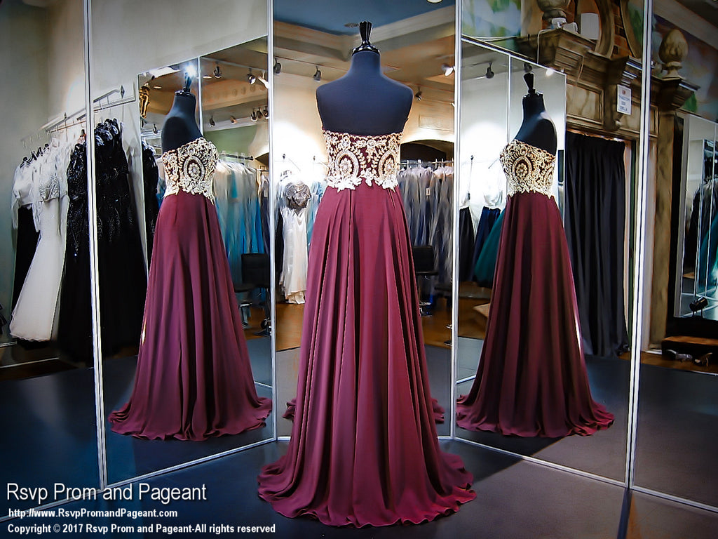 Wine Strapless Sweetheart Prom Dress - Rsvp CLAR - Long Gown - Rsvp Prom and Pageant Atlanta, Georgia GA - 2