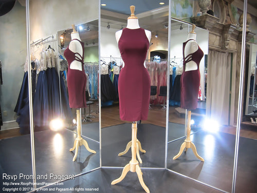 Burgundy Cut Out Open Back Short Homecoming Dress / Rsvp Prom and Pageant / Best Prom Store