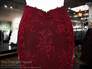 Burgundy Low Back With Slit Prom Dress 118CLAR035730 / Rsvp Prom and Pageant / Best Prom Store in Atlanta / #Promheaven