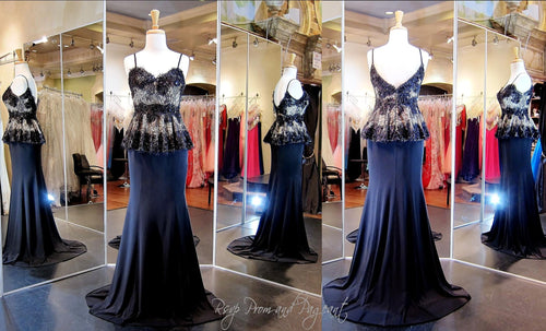 Black Nude Vintage Old Hollywood Style- Lace Peplum-Spaghetti Straps-Jersey-115DJ0091100325 - Rsvp Prom and Pageant, Atlanta, GA