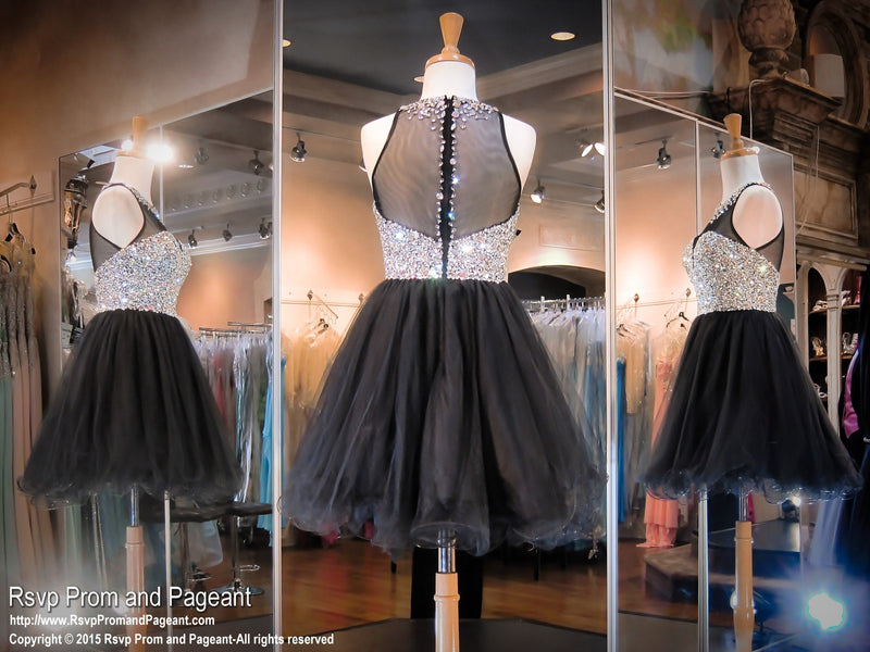 Black Short Homecoming Dress-Sweetheart Illuson Neckline covered with Crystals - Rsvp EC - Short Dress - Rsvp Prom and Pageant Atlanta, Georgia GA - 5